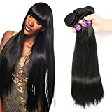 """Mornice Hair 8A Grade Brazilian Remy Virgin Hair 300g Silky Straight Human Hair Extensions Weave (Natural Black,14""""14""""14"""",Pack of 3)"""