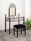Sunburst Design BLACK VANITY SET - Table, Mirror and Bench