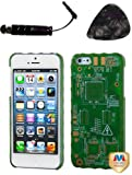 Accessoires fur mobile APPLE iPhone 5 Natural Dark Green Sides Green Circuit Board Back(001) Alloy Executive Back Protector Cover Design Snap on Hard Shell Cover Protector Faceplate AND TrustedSellers(TM) Stylus, Guitar Pick/Pry Tool