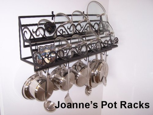 Image of Wall pot rack for lids & spice organizer from Joanne Black Texture (WDBLLIDSCROLL2448bt)