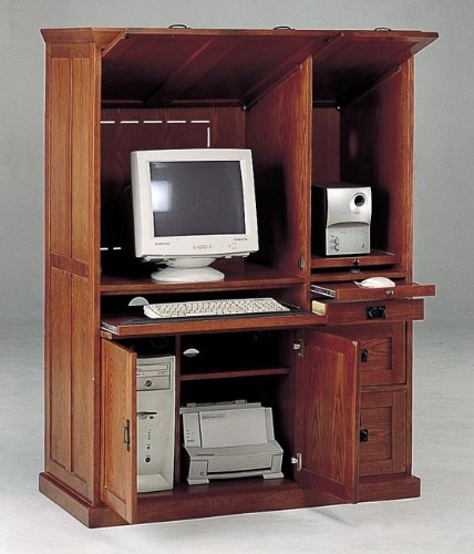 Picture of Comfortable All new item Oak finish mission style wood computer armoire desk cabinet (B0014B5AS6) (Computer Armoires)