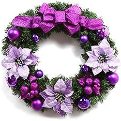 ClikWing Christmas Wreath 18 Inch Pine Garland with Wonderful Flower Christmas Ball Bowknot Purple