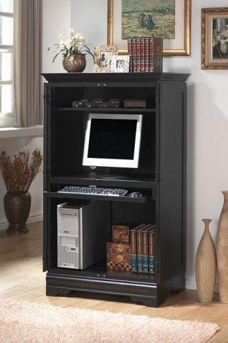 Picture of Comfortable Black finish wood computer armoire cabinet (B000XBPO0C) (Computer Armoires)