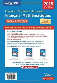 Livres Couvertures de Concours Professeur des écoles - Français et Mathématiques - Annales corrigées - Concours 2018 - Toutes les annales 2014 à 2017
