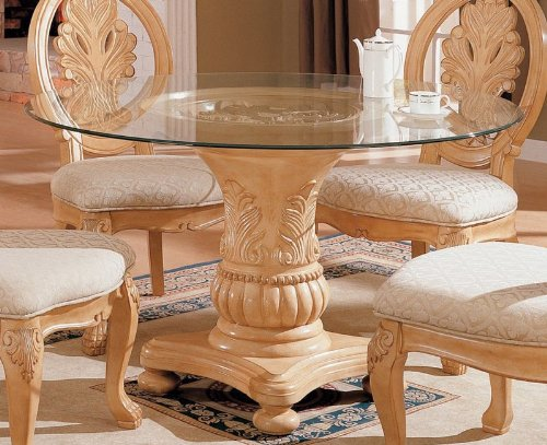 Image of Pedestal Dining Table with Glass Top Antique White Finish (VF_AZ00-45622x30197)