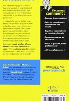 Livres Couvertures de Le parler québécois Guide de conversation Pour les nuls
