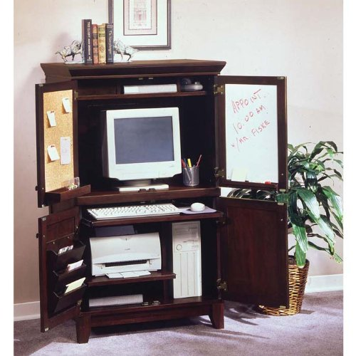 Picture of Comfortable Coffee Finish Computer Armoire (B002PNDMPK) (Computer Armoires)