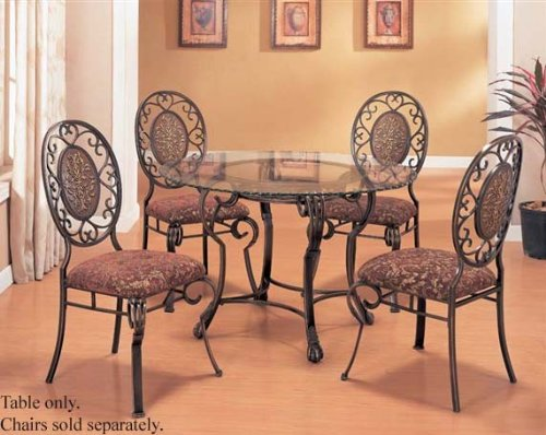 Image of Dining Table with Glass Top Antique Brown Finish (VF_AM8035)