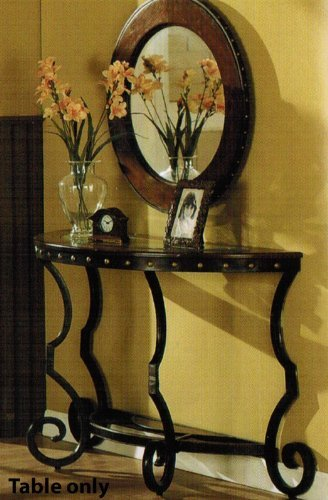 Image of Console Table with Nail Head Trim in Two Tone Finish (VF_F6246)
