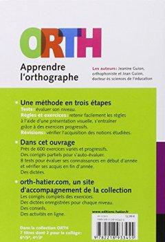 Livres Couvertures de Apprendre l'orthographe, 4e / 3e