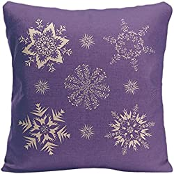 LDJ Cotton Polyester Sofa Square Throw Pillow Case Decorative Cushion Cover Pillowcase Design With Beautiful Snowflake With Purple Background Custom Pillow Cover Print Double Sides Sized 20x20 Inches
