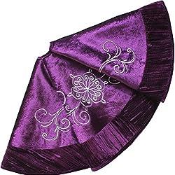 SORRENTO Purple Velvet Embroidered with Pleat Velvet Border Luxurious Fashionable Tree Skirt-90cm