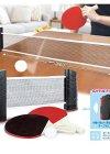 手軽にピンポン! 伸縮ネット式 ポータブル 卓球セット ラ・・・
