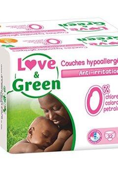 Livres Couvertures de Love & Green - Couches Bébé Hypoallergéniques 0% - Taille 3 (4-9 kg) - Lot de 2 x 32 couches (64 couches)