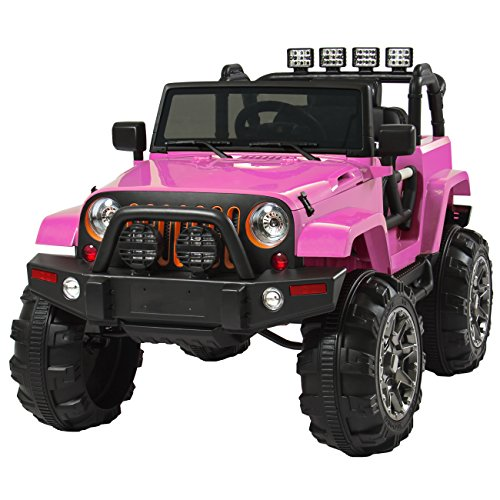 Best-Choice-Products-Jeep-Style-12V-Ride-On-Car-Truck-W-Remote-Control-3-Speeds-Spring-Suspension-LED-Lights-Pink
