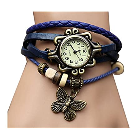Leather weaved bracelet with retro beads wrist watch ,makes you look charming and unique in any occasion  Product Details Movement: Quartz  Material: Alloy And Leather  Dial Diameter: 25mm  Length:225mm  Weight:30g