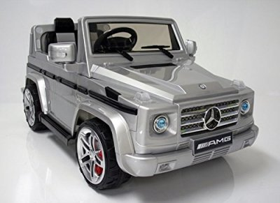 Mercedes-Benz-SUV-G55-AMG-Kids-12v-Dual-Engine-Electric-Ride-on-w-Remote-Control-Silver