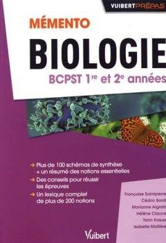 Livres Couvertures de Memento de Biologie BCPST 1re et 2e années - Notions-clés - Schémas de synthèse