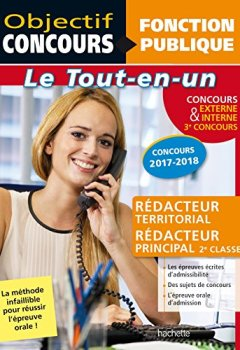 Livres Couvertures de Tout-en-un Rédacteur Territorial, rédacteur principal interne + externe concours 2017-2018