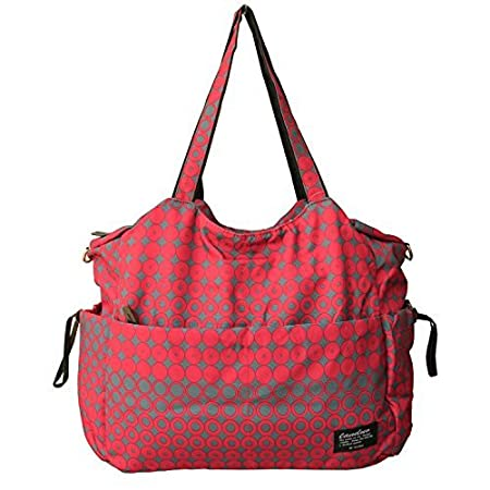 This diaper bag has much room for everything without looking silly when not as full for errands or a quick trip. Can be packed with tons of stuff for a longer day out too.it is very nice and silky yet strong, waterproof material and the color is fash...