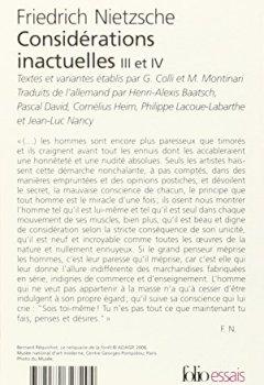 Livres Couvertures de Considérations inactuelles III et IV