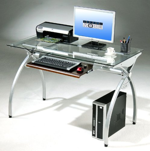 Picture of Comfortable Mad Tech 29.5x22.5x43.25 Clear Glass Panel & Steel Frame Computer Office Desk Table (B004W0MGCE) (Computer Desks)