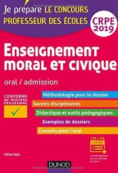 Livres Couvertures de Enseignement moral et civique - Oral, admission - CRPE 2019