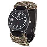 Survival Watch - Paracord Survival Gear / Adjustable Paracord Watch with Fire Starter, Whistle, Compass - Water Proof - Best Survival Gear - 4 Colors (Camo)