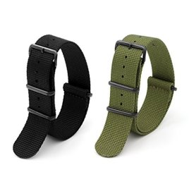 2pc-22mm-Nato-Ss-Nylon-Striped-Blackarmy-Green-Interchangeable-Replacement-Pebble-Lg-Watch-Band