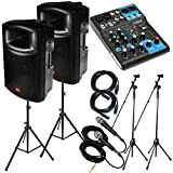 "Yamaha Package Bundle: 1x Yamaha MG06 6-Channel Mixer + 2x EMB EB112BT Pro 12"" 2-way 900W Bluetooth Powered Speaker + 2x Speaker Stands + 2 Emic800 Microphone With Wires + 2 Microphone Stand + 2 XLR Xlarge Calbles"