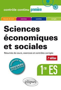 Livres Couvertures de Sciences économiques et sociales (SES) - Première ES - 2e édition