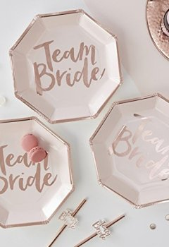 Livres Couvertures de ROSE GOLD FOILED TEAM BRIDE PAPER PLATES - TEAM BRIDE