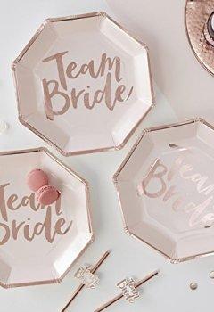 Livres Couvertures de ROSE GOLD FOILED TEAM BRIDE PAPER PLATES - TEAM BRIDE