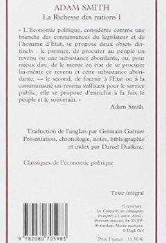 Livres Couvertures de La Richesse des nations. Tome I
