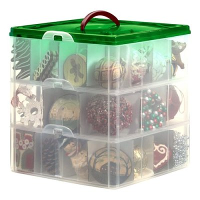 Snapware 60621 Snap-N-Stack 3-Layer Ornament Box with Dividers