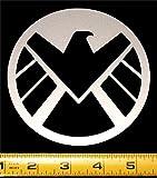 "Marvel - S.H.I.E.L.D. Logo HQ Silver Metallic Vinyl Decal! 4.5"" x 4.5"""