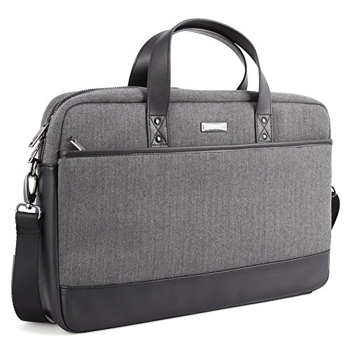 173-inch-Laptop-Shoulder-Bag-Evecase-Fabric-and-Leather-Modern-Business-Tote-Briefcase-Laptop-Messenger-Bag-with-Accessory-Pockets-Fits-Up-to-173-inch-Macbook-Laptops-Ultrabooks-Black-Gray