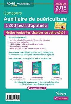 Livres Couvertures de Concours Auxiliaire de puériculture Entrée en IFAP : 1 200 tests d'aptitude