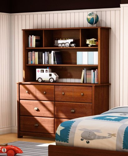 Image of Kids Dresser Buffet Hutch Contemporary Style in Sumptuous Cherry Finish (SS3356-027-072)