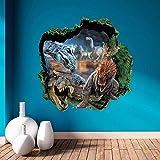 Top-Me 3d dinosaurs through the wall stickers jurassic park home decoration diy cartoon kids room wall decal movie mural art 1439+2 Magic Ties