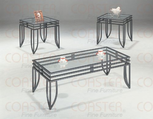 Image of Coaster 3-Piece Occasional Table Set with Black Glass Top (VF_AZ00-46733x33272)