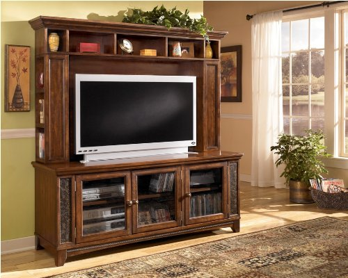 Image of Brown TV Stand with Hutch (ASLYW570-21_W570-21H_2PC)
