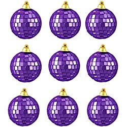 "9ct Purple Mirrored Glass Disco Ball Christmas Ornaments 1.5"" (40mm)"