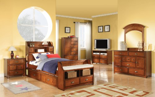 Image of TWIN SIZE YOUTH KIDS BEDROOM COLLECTION ANTIQUE OAK FINISH BRANDON 6 PIECE SET (B008W1B5SU)