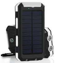 GRDE 10000mAh 大容量ソーラーチャージャー モバイルバッテリー 2USBポート 羅針盤が付き 防水設計 二つの充電方法 旅行、キャンプの良品 iPhone / iPad / iPod / Xperia / Galaxy / Nexus等対応 (ホワイトとブラック)