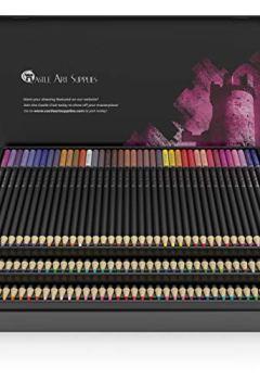 Livres Couvertures de Castle Art Supplies Ensemble de 120 crayons de couleur pour artistes, comprenant un noyau