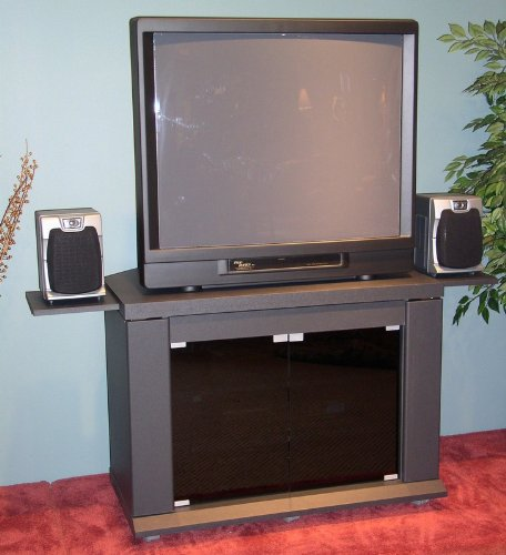 Image of Charcoal Gray Finish TV Stand w/Pull Out Shelves (AZ00-30238x35178)