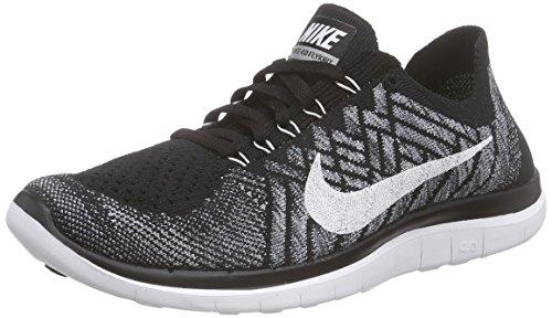 Nike Free 4.0 Flyknit, Herren Laufschuhe, Mehrfarbig (Black/White-Wolf Grey-Dark Grey), 44 EU