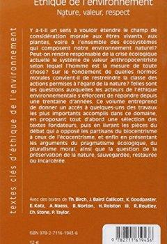 Livres Couvertures de Ethique de l'environnement : Nature, valeur, respect