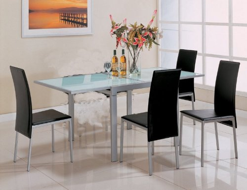 Image of Pearl Silver Metal Finish Glass Top 5 Piece Dining Set (table & 4 chairs) - Coaster Co. (VF_AZ00-45952x30686)